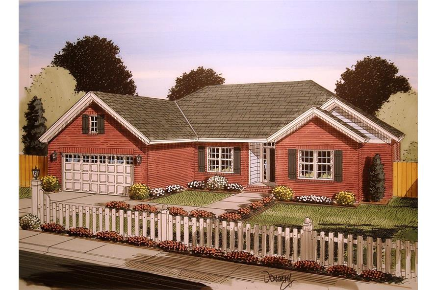 Front elevation of Craftsman home (ThePlanCollection: House Plan #178-1351)