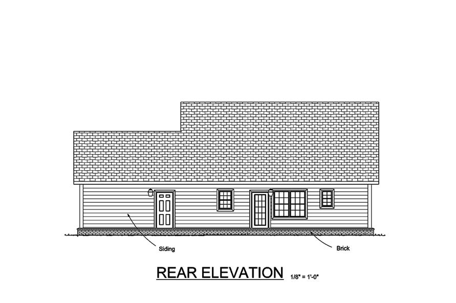 178-1353: Home Plan Rear Elevation