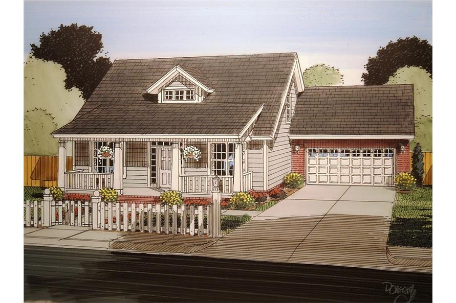 Front elevation of Craftsman home (ThePlanCollection: House Plan #178-1353)