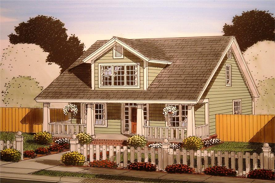 Front elevation of Craftsman home (ThePlanCollection: House Plan #178-1354)