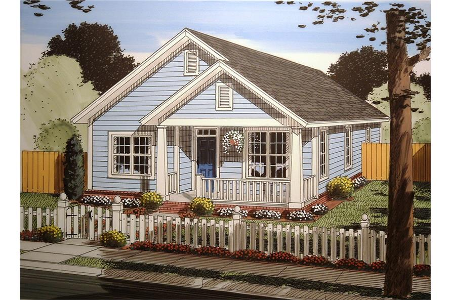 Front elevation of Craftsman home (ThePlanCollection: House Plan #178-1355)