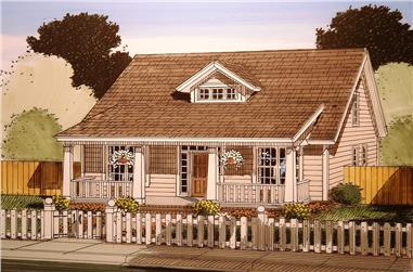 Front elevation of Craftsman home (ThePlanCollection: House Plan #178-1356)