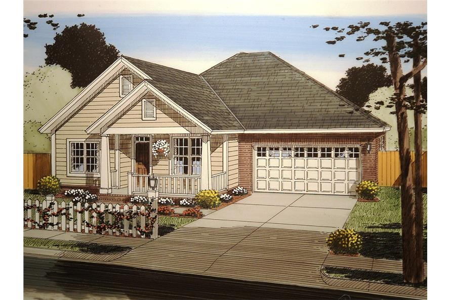 Front elevation of Craftsman home (ThePlanCollection: House Plan #178-1357)