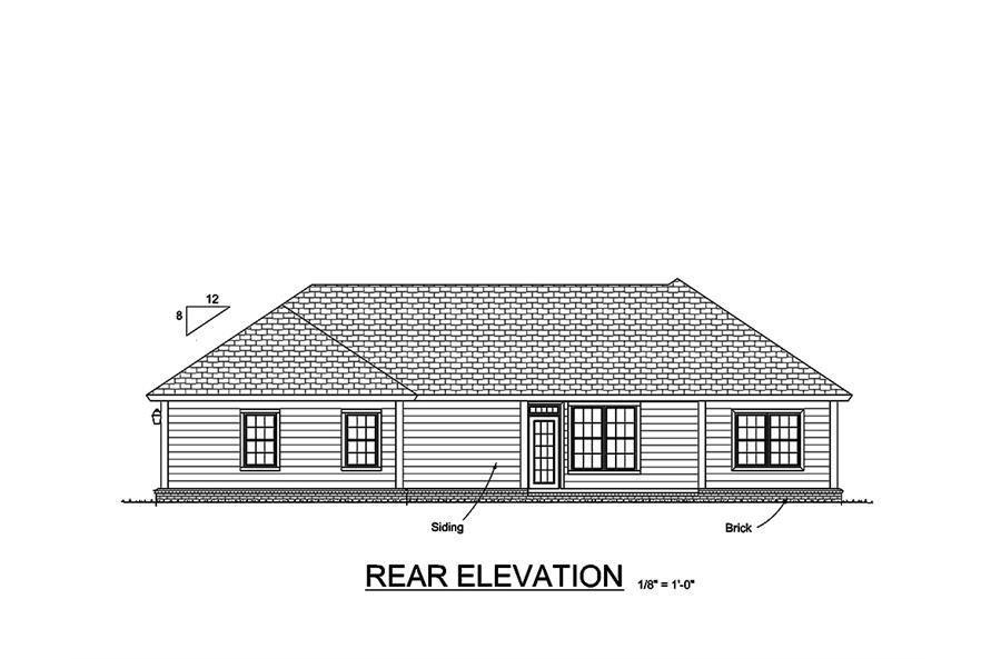 178-1358: Home Plan Rear Elevation