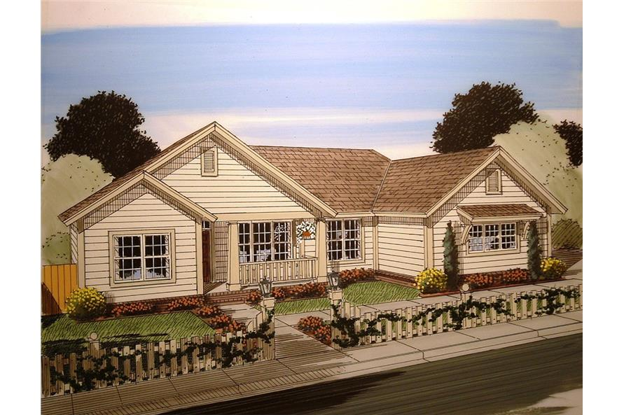 Front elevation of Craftsman home (ThePlanCollection: House Plan #178-1358)