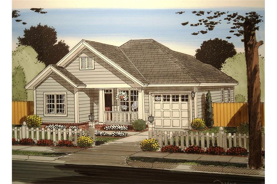 Front elevation of Craftsman home (ThePlanCollection: House Plan #178-1359)