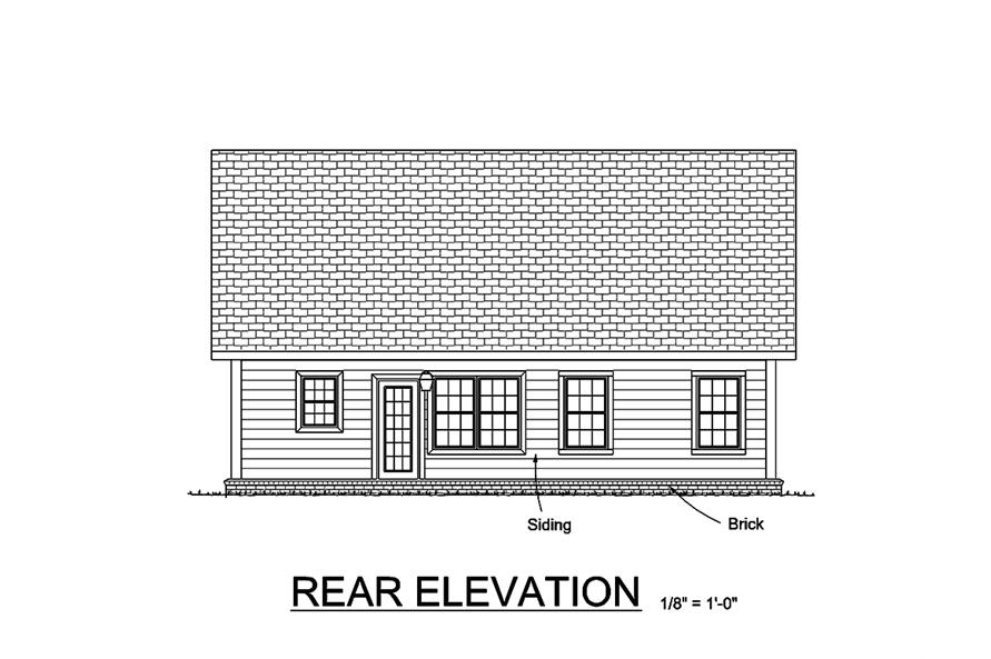 178-1360: Home Plan Rear Elevation
