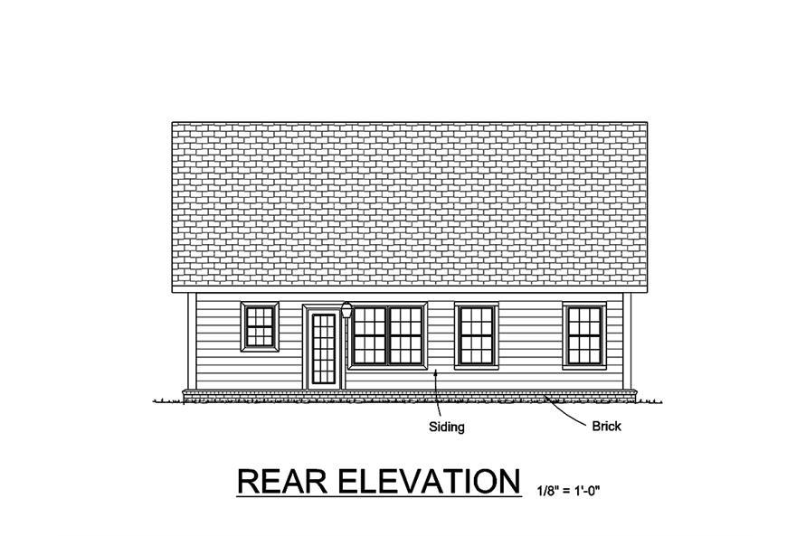 178-1360: Home Plan Rear Elevation