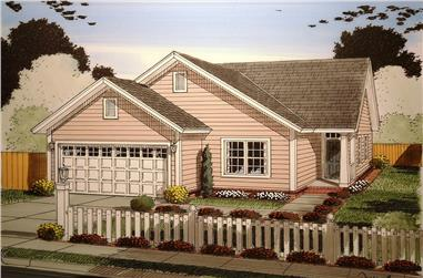 Front elevation of Craftsman home (ThePlanCollection: House Plan #178-1360)