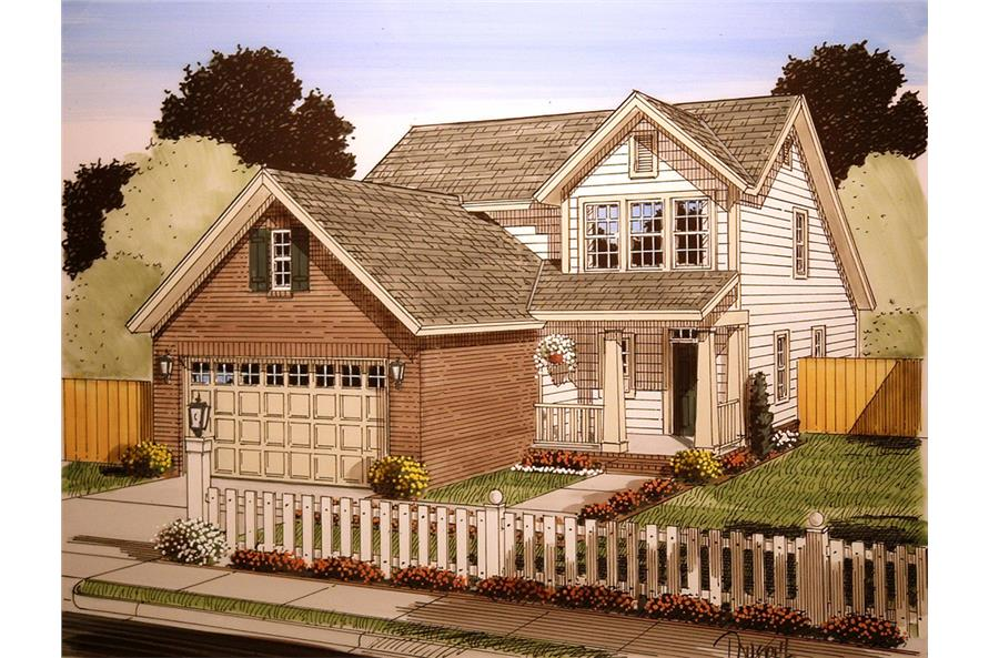 Front elevation of Craftsman home (ThePlanCollection: House Plan #178-1361)