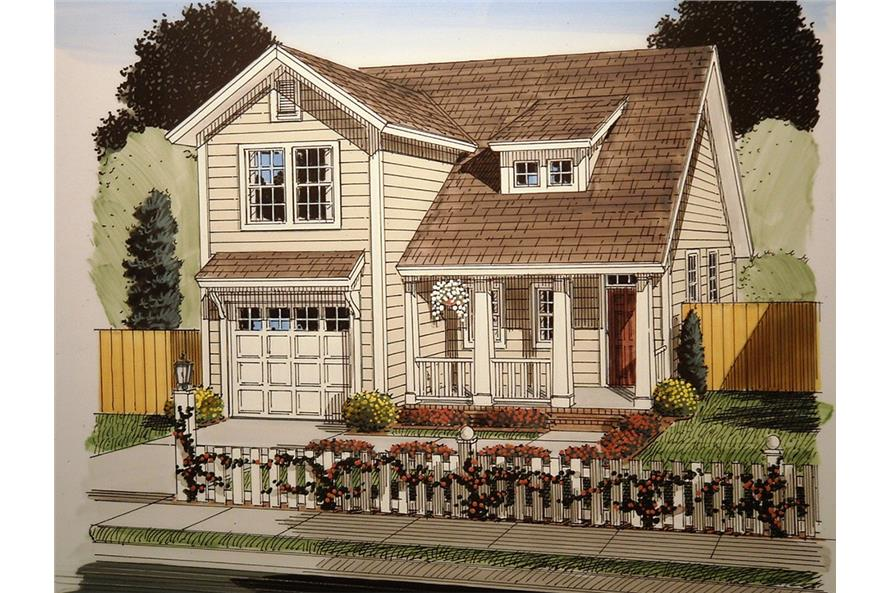 Front elevation of Craftsman home (ThePlanCollection: House Plan #178-1362)