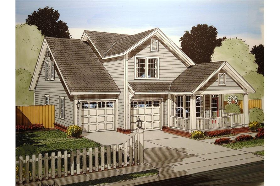 Front elevation of Craftsman home (ThePlanCollection: House Plan #178-1363)