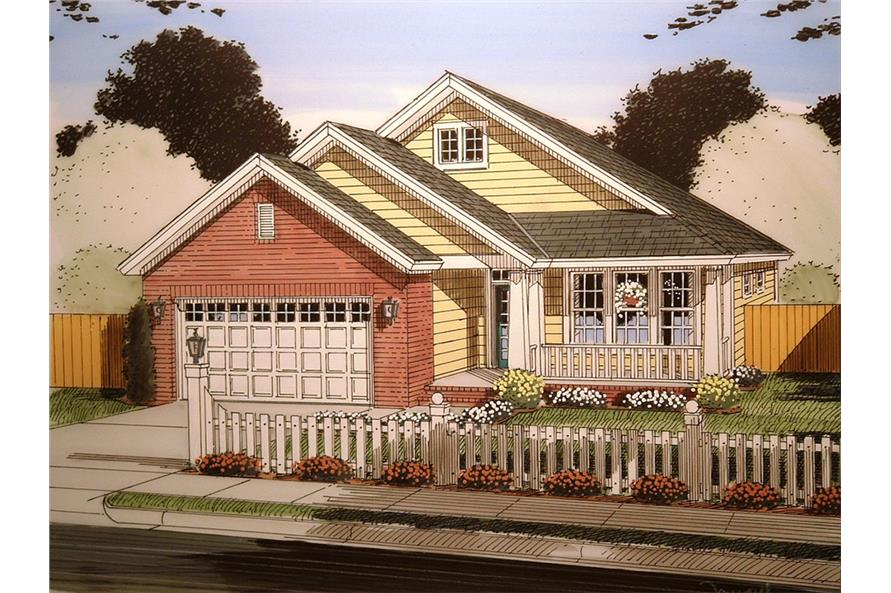 Front elevation of Craftsman home (ThePlanCollection: House Plan #178-1364)