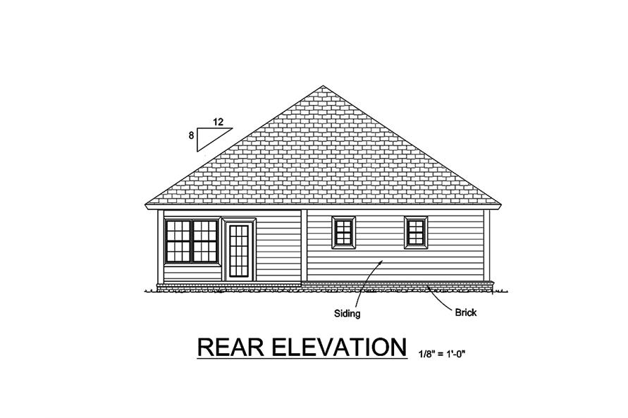 178-1365: Home Plan Rear Elevation