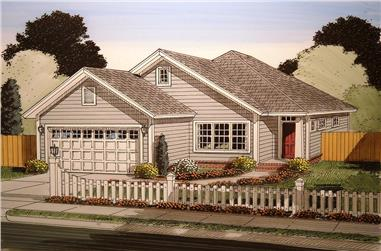 Front elevation of Craftsman home (ThePlanCollection: House Plan #178-1365)