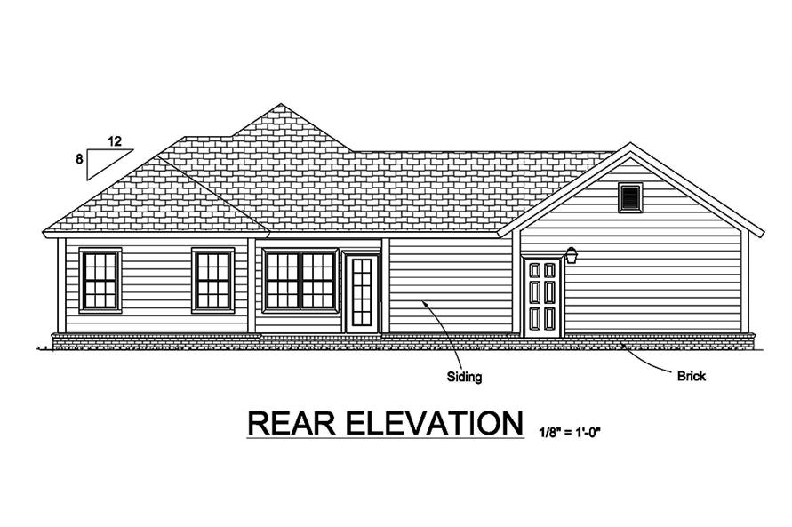 178-1366: Home Plan Rear Elevation