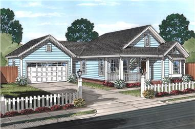 Front elevation of Cottage home (ThePlanCollection: House Plan #178-1366)