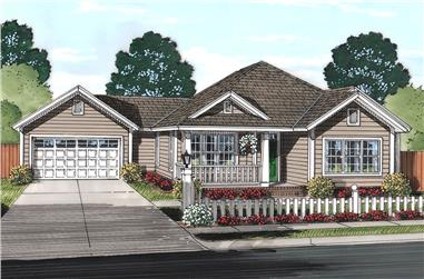 Front elevation of Cottage home (ThePlanCollection: House Plan #178-1367)