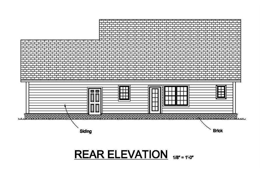 Home Plan Rear Elevation of this 3-Bedroom,1597 Sq Ft Plan -178-1369