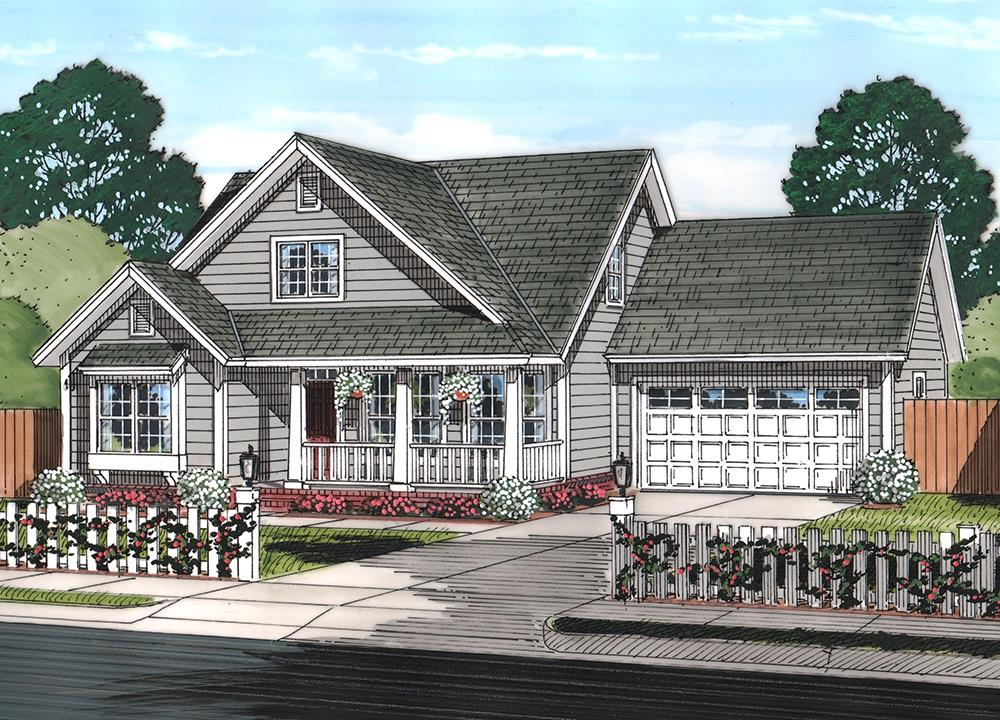 Front elevation of Cottage home (ThePlanCollection: House Plan #178-1369)