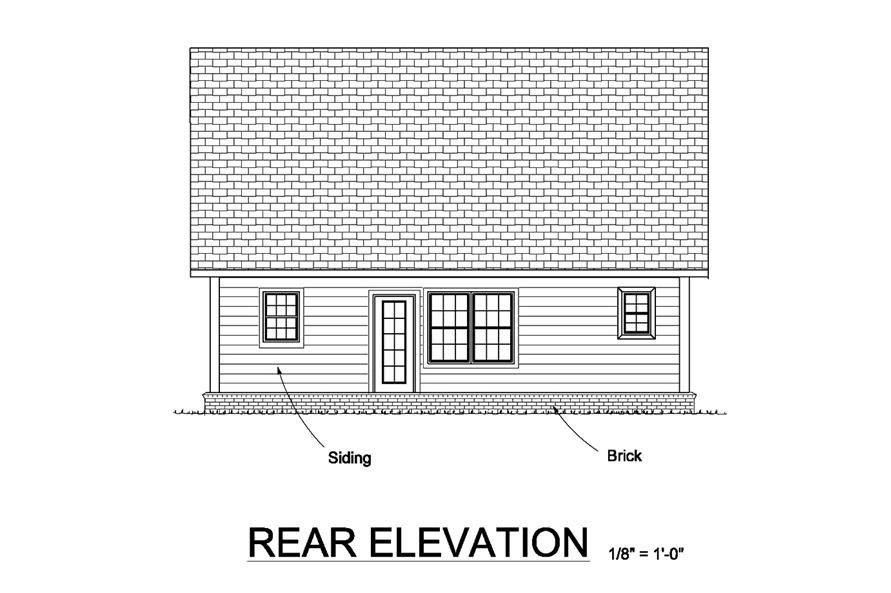 178-1370: Home Plan Rear Elevation