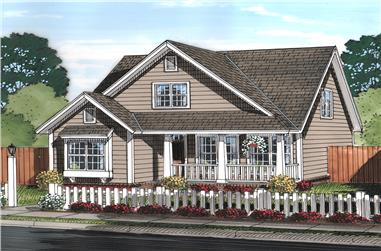 Front elevation of Cottage home (ThePlanCollection: House Plan #178-1370)