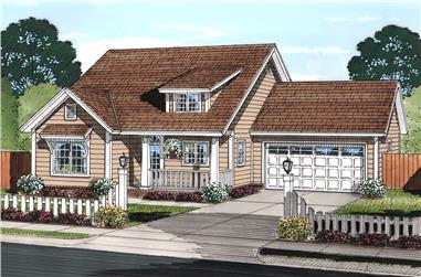 Front elevation of Cottage home (ThePlanCollection: House Plan #178-1371)