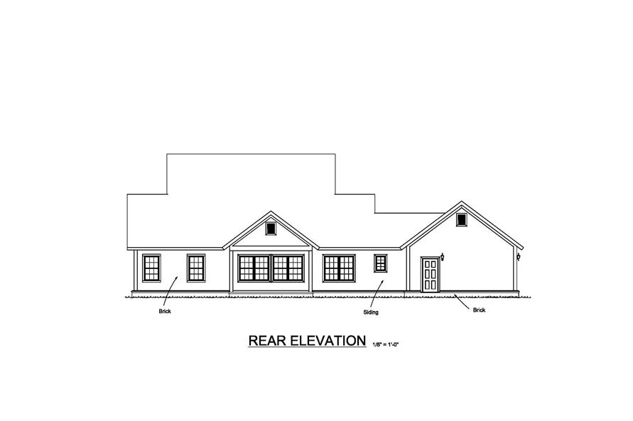 Home Plan Rear Elevation of this 4-Bedroom,1938 Sq Ft Plan -178-1373