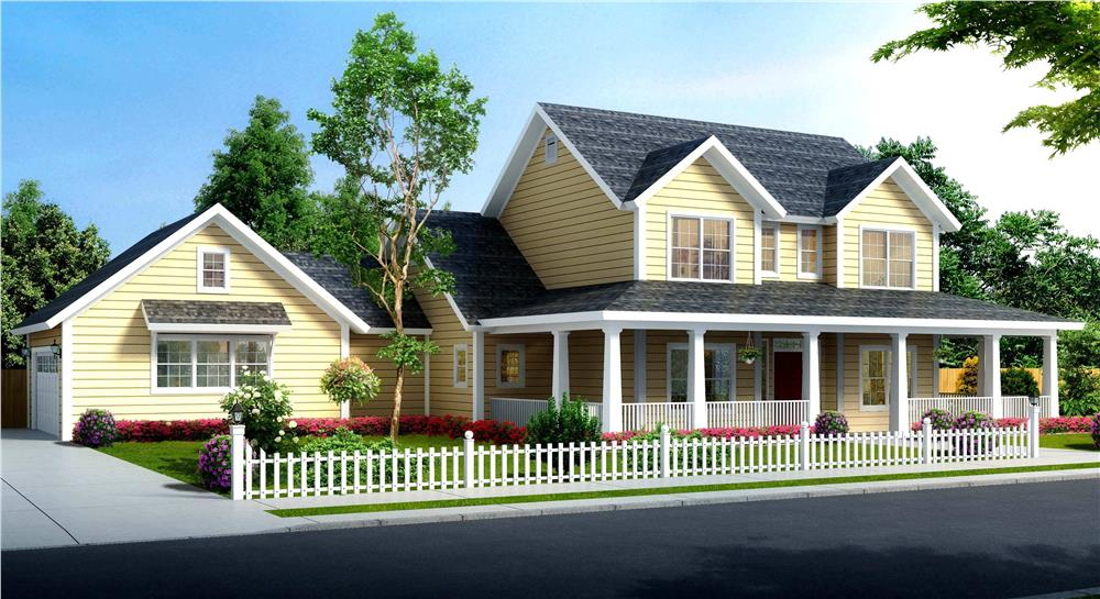 Front elevation of Traditional home (ThePlanCollection: House Plan #178-1373)