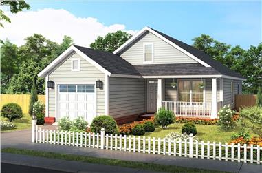 3-Bedroom, 1284 Sq Ft Cottage House Plan - 178-1374 - Front Exterior