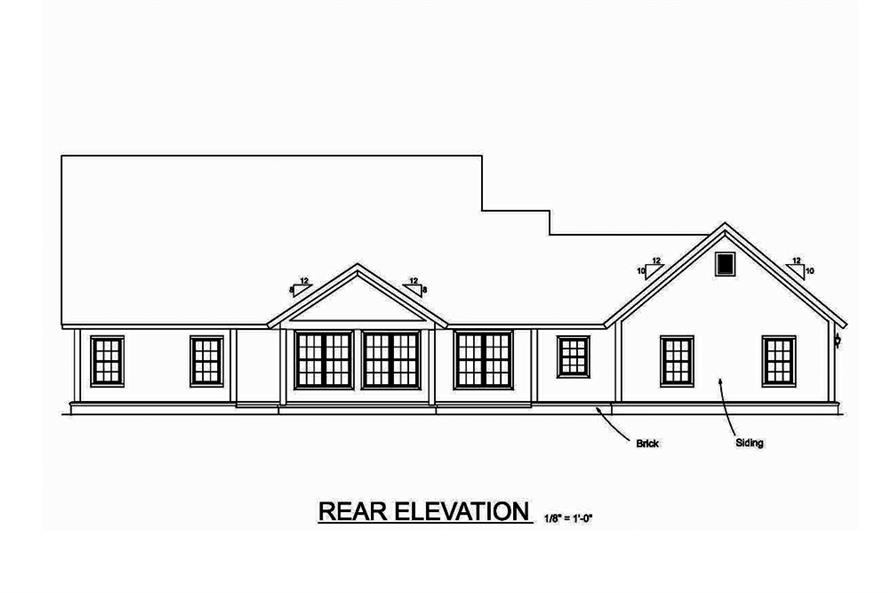 Home Plan Rear Elevation of this 4-Bedroom,2487 Sq Ft Plan -178-1376