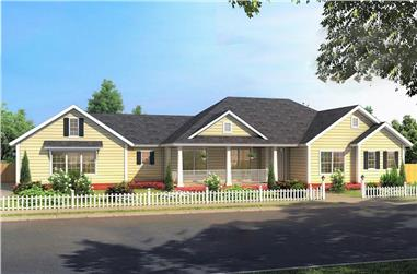 3-Bedroom, 1639 Sq Ft Country Ranch House Plan - 178-1379 - Front Exterior