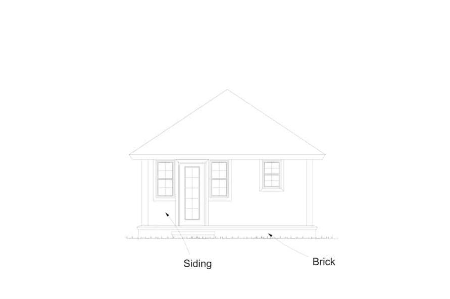 Home Plan Rear Elevation of this 1-Bedroom,412 Sq Ft Plan -178-1381