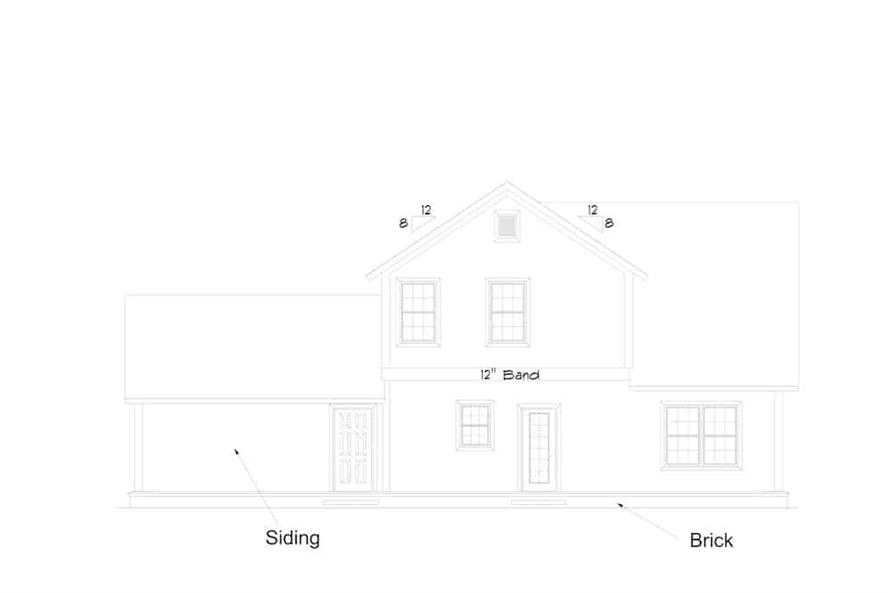 Home Plan Rear Elevation of this 4-Bedroom,2165 Sq Ft Plan -178-1384