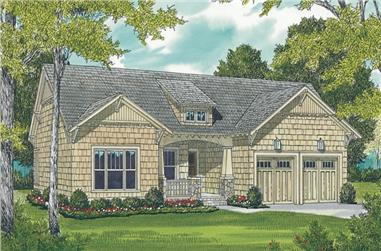 Front elevation of 3 bedroom Bungalow Craftsman home plan (ThePlanCollection: House Plan #180-1000)
