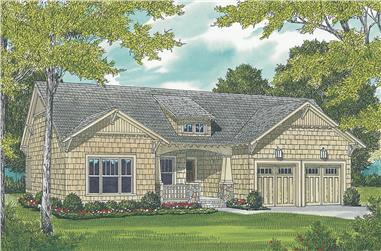 3-Bedroom, 1387 Sq Ft Cottage House Plan - 180-1000 - Front Exterior