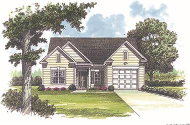 3-Bedroom, 1402 Sq Ft Traditional House Plan - 180-1001 - Front Exterior