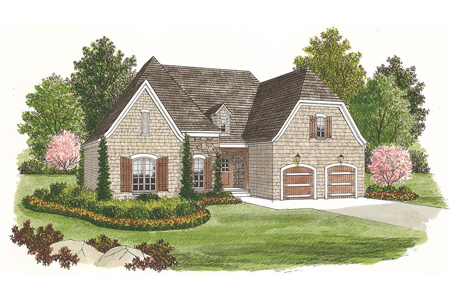 Front elevation of Cottage home (ThePlanCollection: House Plan #180-1002)
