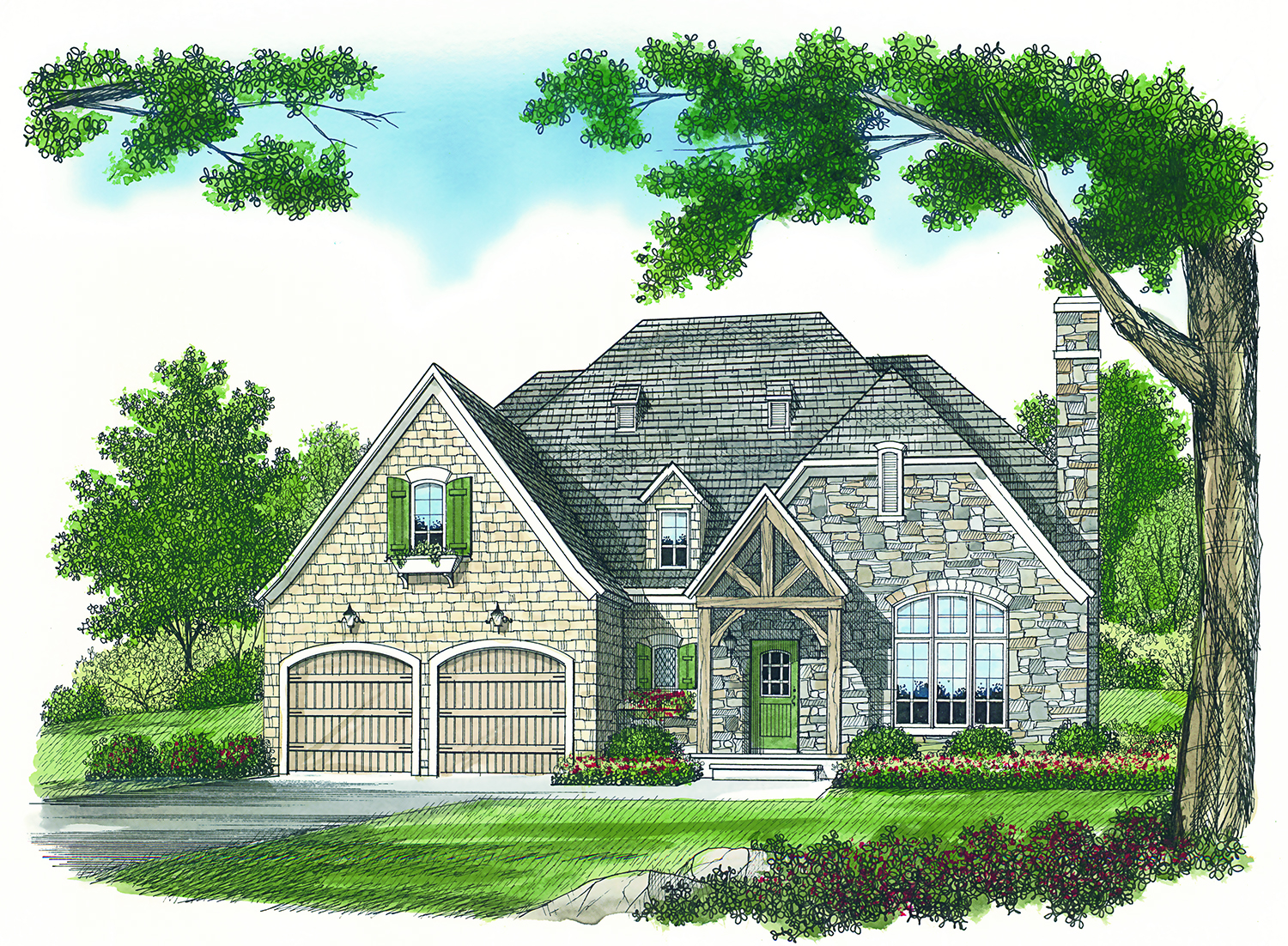 Front Elevation European : Sq ft french country home plan  bedrooms
