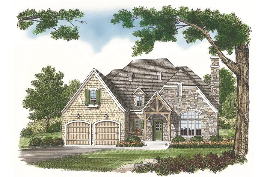 Front elevation of French country style home (ThePlanCollection: House Plan #180-1005)