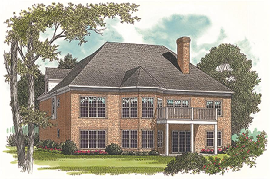 180-1006: Home Plan Rear Elevation