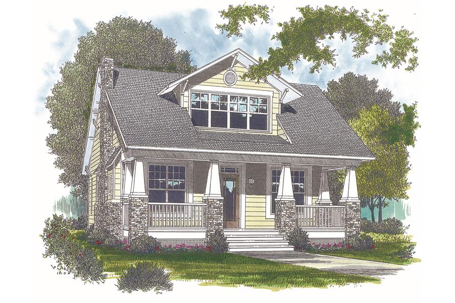 Front elevation of bungalow home (ThePlanCollection: House Plan #180-1007)