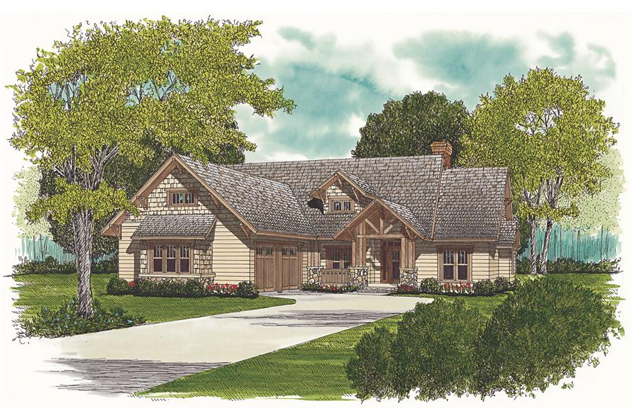 Front elevation of Craftsman home (ThePlanCollection: House Plan #180-1008)