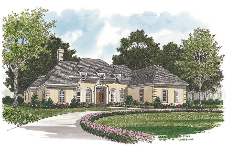 180-1010: Home Plan Rendering-Front Door