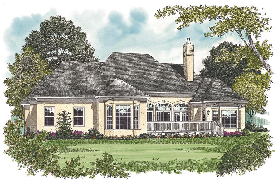 180-1010: Home Plan Rendering - Rear View