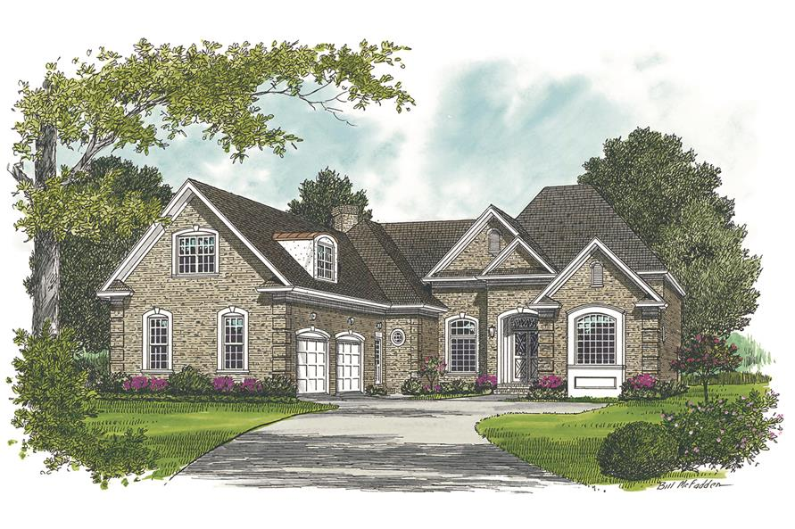 Front elevation of Ranch home (ThePlanCollection: House Plan #180-1011)