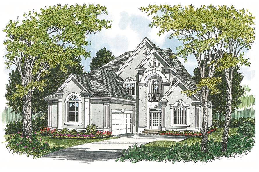 180-1012: Home Plan Rendering-Front Door