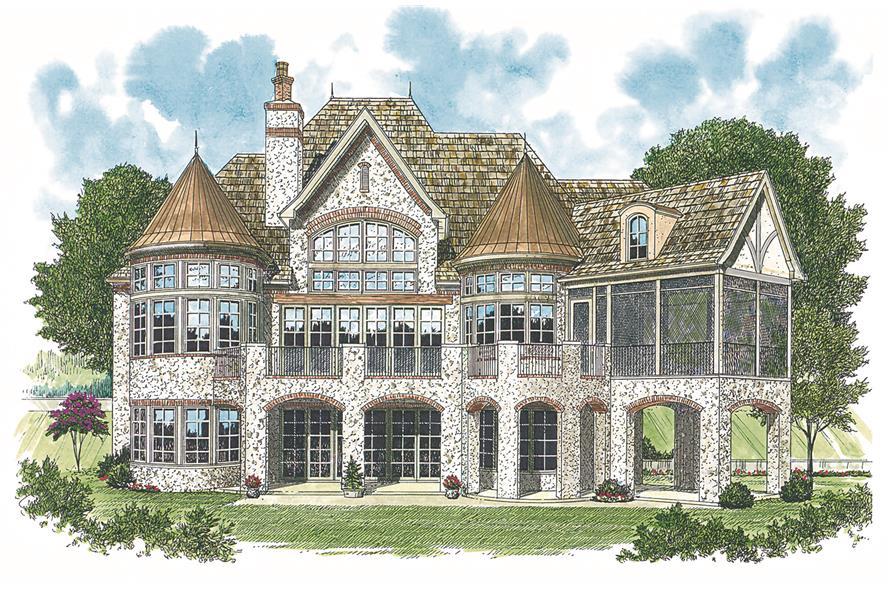 180-1013: Home Plan Rendering - Rear View