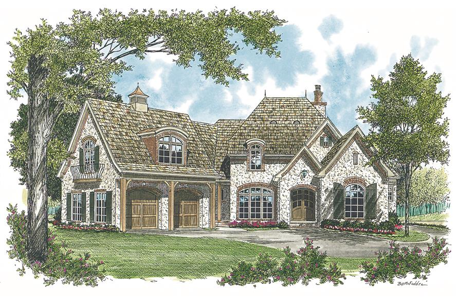 Front elevation of European home (ThePlanCollection: House Plan #180-1013)