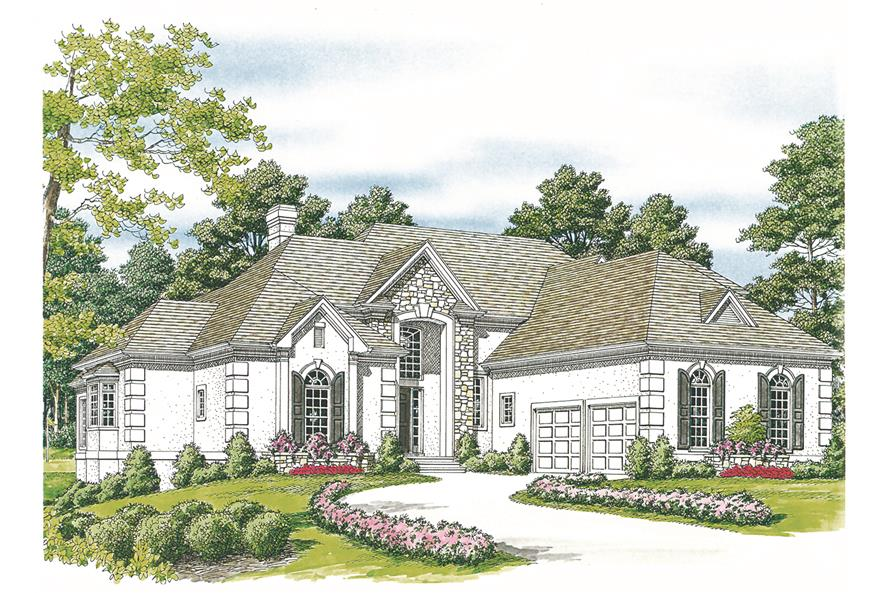 180-1014: Home Plan Rendering-Front Door